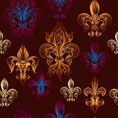 image of fleur de lis  - Heraldic seamless pattern with fleur de lis - JPG