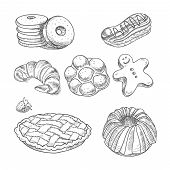 stock photo of croissant  - hand drawn sketch confections dessert pastry bakery products donut - JPG
