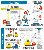 pic of lift truck  - Lifting equipment infographics set with cranes and heavy machinery symbols vector illustration - JPG