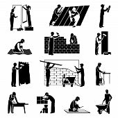 image of labor  - Professional construction workers builders and laborers black icons set isolated vector illustration - JPG