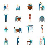 picture of frustrated  - Depression and frustration at work and home flat icons set isolated vector illustration - JPG