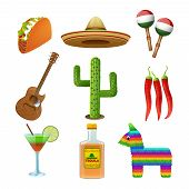image of sombrero  - Mexican culture flat icons set with tequila sombrero and hot chili pepper taco abstract isolated vector illustration - JPG