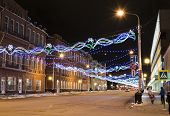 stock photo of prospectus  - The city decorated with light garlands by New year - JPG