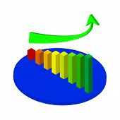 pic of going out business sale  - Illustration of Business graph and chart with going up arrow on stage - JPG