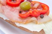 stock photo of tomato sandwich  - Sandwich with bacon peppers olives tomatoes and spices - JPG