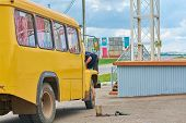 image of motor-bus  - A man in a blue shirt repairs yellow bus - JPG