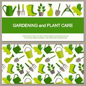 foto of horticulture  - Flat design banner for gardening and horticulture with garden tools and seamless pattern - JPG
