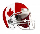 foto of football helmet  - Flagged Canada American football helmet isolated on a white background with detailed clipping path - JPG