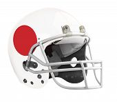 picture of football helmet  - Flagged Japan American football helmet isolated on a white background with detailed clipping path - JPG