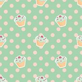 pic of mint-green  - Tile vector pattern with cupcakes and polka dots on mint green background for seamless decoration wallpaper - JPG
