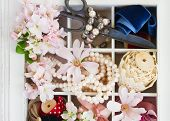picture of mother-of-pearl  - apple tree and magnolia fresh flowers with pearls - JPG