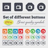stock photo of tv sets  - Retro TV mode icon sign Big set of colorful diverse high - JPG