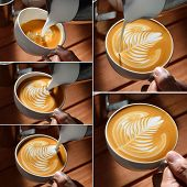 picture of latte  - Steps of making latte art on wooden background - JPG