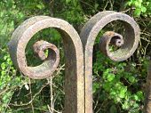 stock photo of crippled  - Rusty rural gateway photographed at Topsham in Devon - JPG