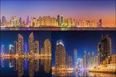 image of dubai  - Collage of the beauty panorama at Dubai marina - JPG