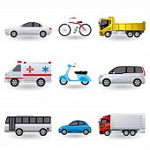 stock photo of vespa  - This graphic is realistic transportation icons set - JPG