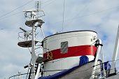 stock photo of mast  - Tube and mast of the ship close up - JPG