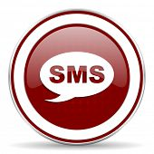 image of sms  - sms red glossy web icon