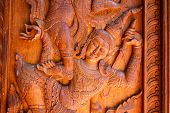 picture of carving  - Abstract wood carving art of in Thailand - JPG