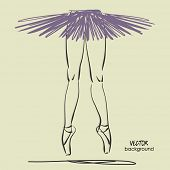 stock photo of ballerina  - art sketched leg of beautiful young ballerina with tutu in pose of dance - JPG