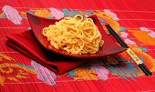 image of carbonara  - spaghetti carbonara served on a bamboo place mat - JPG