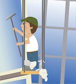 stock photo of window washing  - A window washer washing windows on a skyscraper - JPG