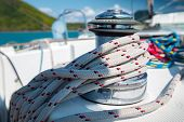 image of coil  - Macro shot of the coil of rope on the sail boat - JPG