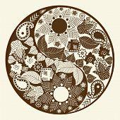image of yin  - Yin yang symbol asian decoration element Pattern on white Background - JPG