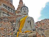 stock photo of piety  - Buddha ancient  at Yai Chai Mong Kol temple - JPG