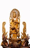 pic of yin  - Guan Yin wood carving on a white background - JPG