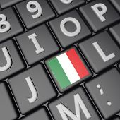 picture of italian flag  - Italian flag over computer keyboard 3d render square image - JPG