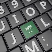 foto of saudi arabia  - Saudi Arabia flag over computer keyboard 3d render square image - JPG