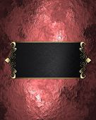image of nameplates  - Abstract red background with black nameplate - JPG