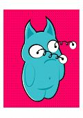 picture of bulge  - illustration of cartoon blue monster with bulging eyes keeping on spring - JPG