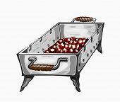 picture of charcoal  - Illustration of painted grill with charcoal - JPG