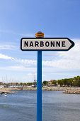 pic of marina  - City sign of Narbonne front of the marina by gruissan - JPG