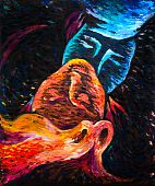 stock photo of red hair  - Oil on canvas painting of a two kissed people - JPG
