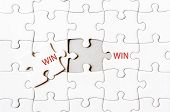 image of win  - Missing jigsaw puzzle piece completing word WIN WIN - JPG