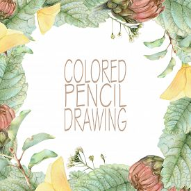 foto of pencils  - Square frame with beautiful spring flowers and plants drawn by hand with colored pencils - JPG
