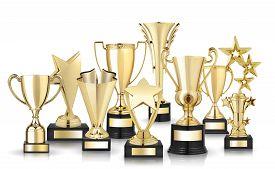stock photo of trophy  - Set of golden trophies - JPG