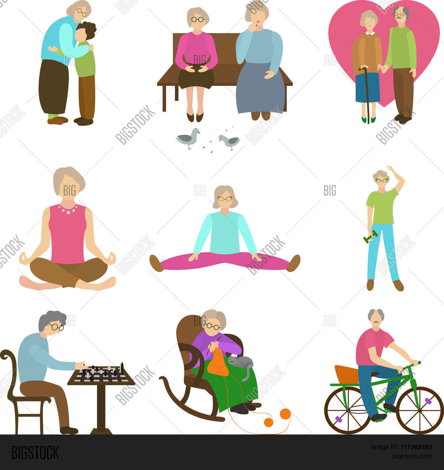 Older People In Different Situations   Isolated On White Background    Vector Illustration, Graphic D