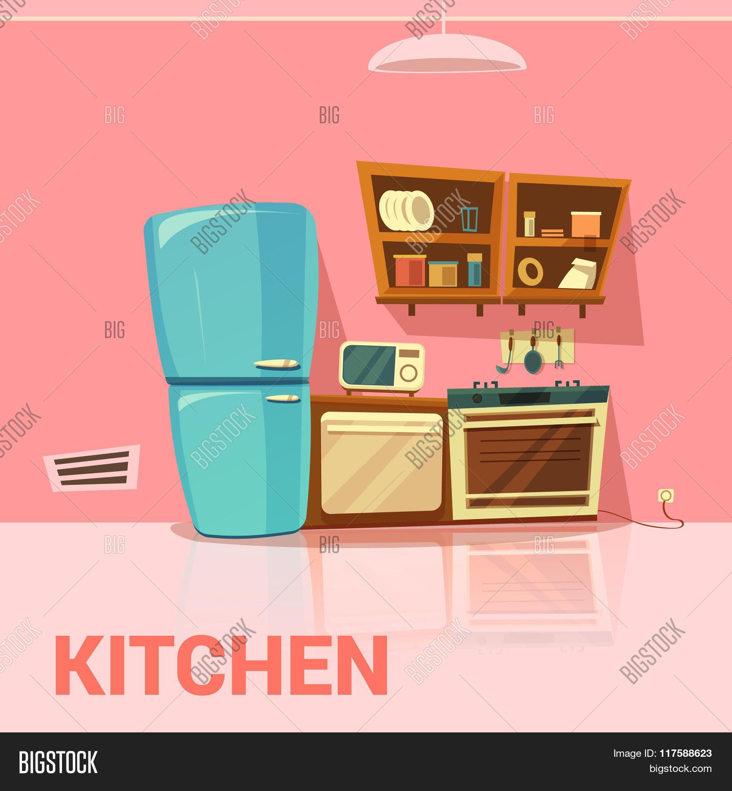 kitchen retro design vector photo bigstock. Black Bedroom Furniture Sets. Home Design Ideas