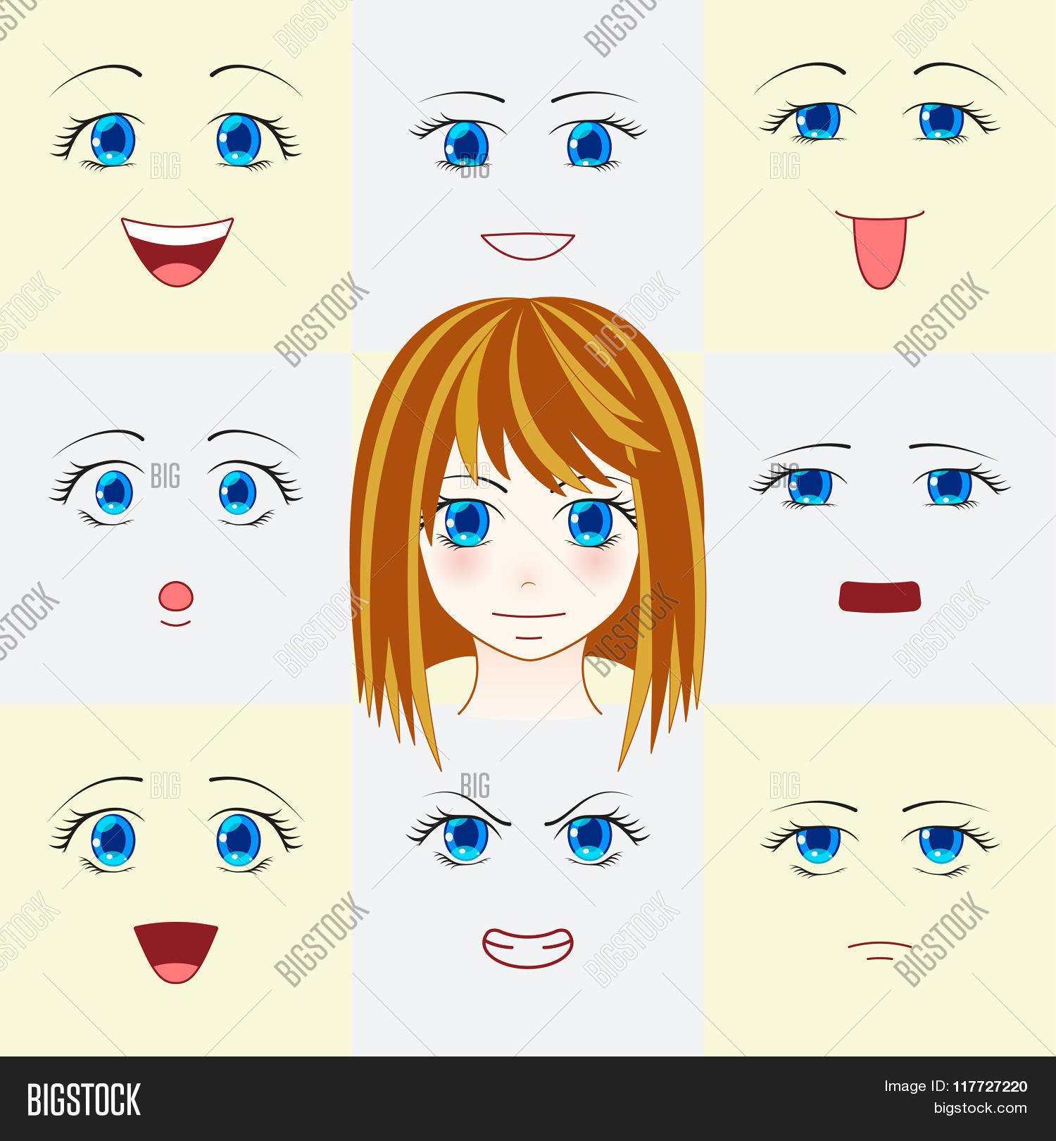 Set Of Faces In Manga Style Cute Anime Eyes And Mouths Different Human