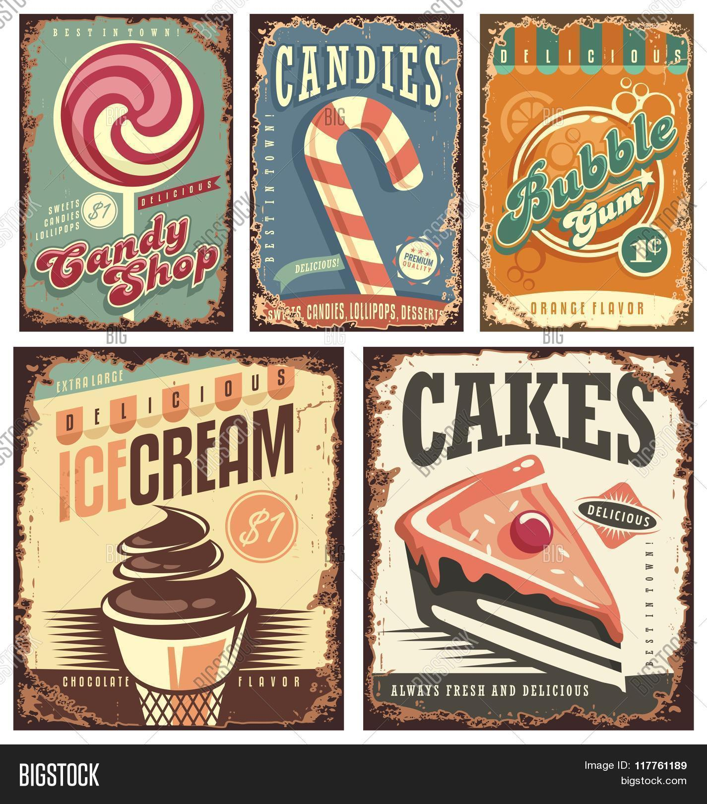 Retro Posters Set With Sweets Cakes Ice Cream And Bubble