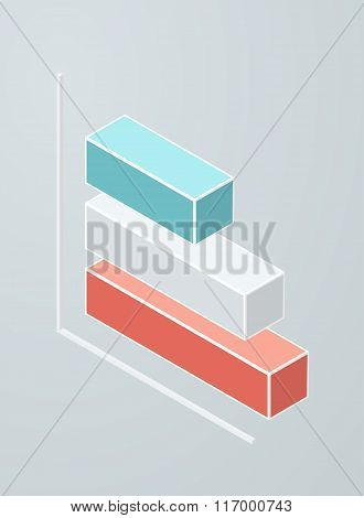 Isometric bar chart icon.