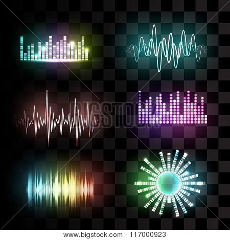 Vector sound waves set.