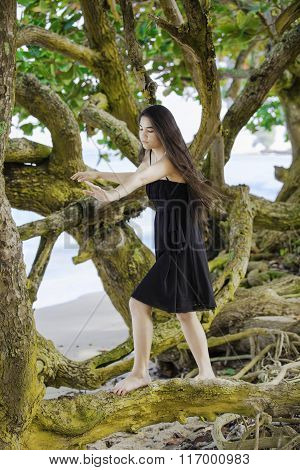 Biracial Teen Girl Climbing On Sprawling Branches At Hawaiian Beach