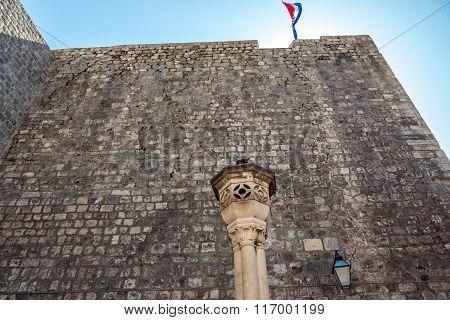 Republic of Croatia flag in Dubrovnik city Croatia