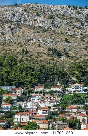 Apartment houses on the hill in Dubrovnik in Croatia