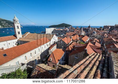 Dominican Monastery seen from Walls of Dubrovnik in Croatia